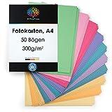 OfficeTree Tonkarton Pastell A4 - Tonpapier 50 Blatt Pastellfarben 300g
