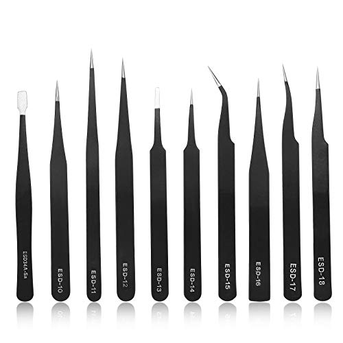 Pinzas de Precisión Kit 10pcs ESD Anti-Estáticas de Acero Inoxidable Pinzas Para Reparación de Ordenadores, Reparaciones Electrónicas, Joyas, Laboratorios y Trabajos de Precisión