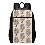 TRFashion Mochila Cute Fat Cat Eats Pizza Fashion Student Outdoor Backpack 17in Teens Bookbags Travel Laptop College Business Daypack Schoolbag Book Bag For Men Women Black
