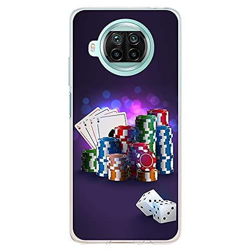 Funda Transparente para [ Xiaomi Mi 10T Lite ], Carcasa de Silicona Cover Flexible TPU, diseño: Fichas de Poker Dados y Cartas