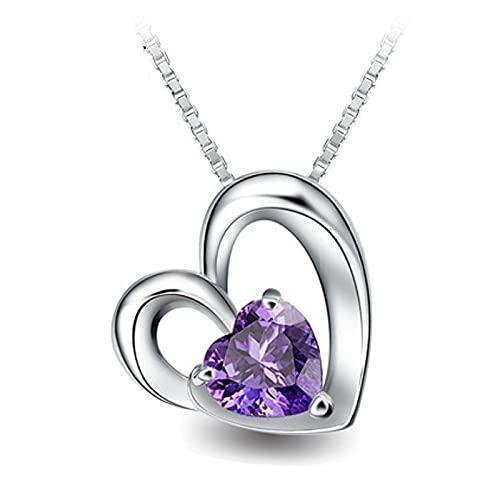 HUREWQ Collar Collar con Colgante para Mujer, Collar de corazón, joyería de Plata, Collar de Mujer
