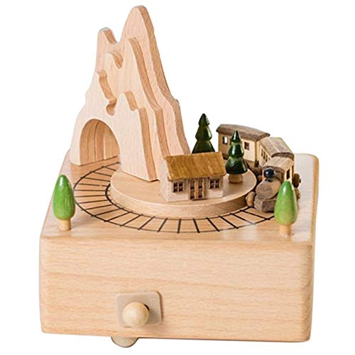 Chenhan Caja Musical Caja de Madera Musical con la montaña Túnel con Pequeño Tren móvil Juegos Regalos para niños (Color : Wood and Green)