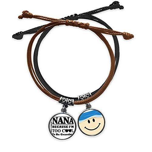 Cartoon Grandma Letters Present Best Wishes Bracelet Rope Hand Chain Leather Smiling Face Wristband