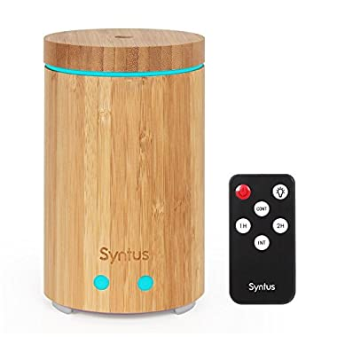 Syntus Essential Oil Diffuser, Real Bamboo Diffuser with Remote Control 160ml Ultrasonic Aromatherapy Diffusers with Colorful Lights, Timer Setting and Waterless Auto Shut-off