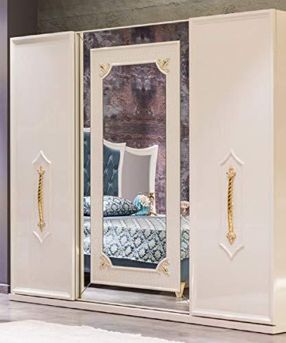 Casa Padrino Armario de Dormitorio Barroco de Lujo Blanco/Oro - Armario de Madera Maciza - Muebles de Dormitorio barrocos - Noble y Espléndido