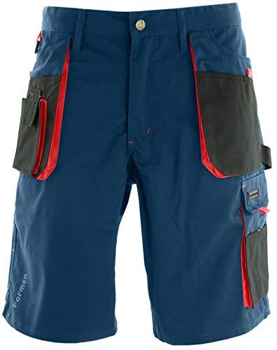 Reis Kurze Arbeitshosen Herren mit Werkzeugtasche - Arbeitsshorts für Garten, Werkstatt und Arbeit, Blau-Rot, Größe XXL