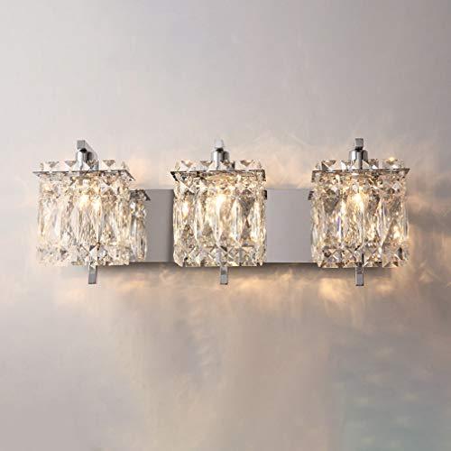 OMGPFR Luces de Pared de Cristal nórdico, lámpara de Pared LED de Lujo clásico Moderno Creativo Dormitorio luz de Noche para Aplique de Pared de Sala de Estar, Bombillas E14,Plata,C