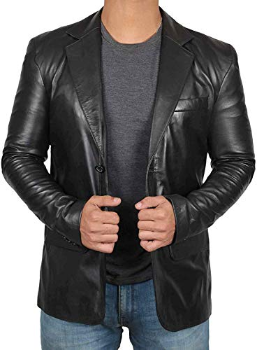 Blingsoul Sport Coats and Blazers for Men - Mens Black Leather Jacket | [1500561] Blazer, XS