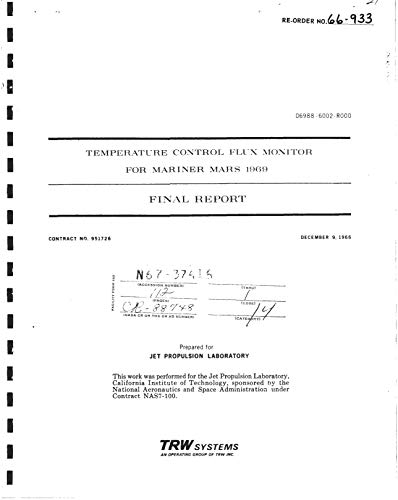 Temperature control flux monitor for Mariner Mars 1969 Final report (English Edition)