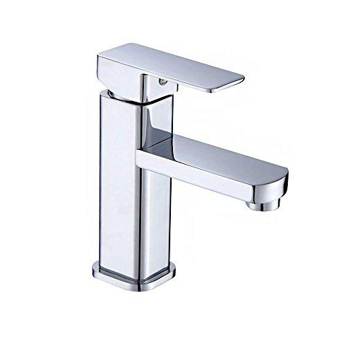 UISEBRT Wasserhahn Bad Armatur - Waschtischarmaturen Einhebelmischer für Badezimmer Waschtisch, Kaltes und Heißes Wasser Vorhanden, Messing Verchromt,Moderne Elegant Stil (Modell D)