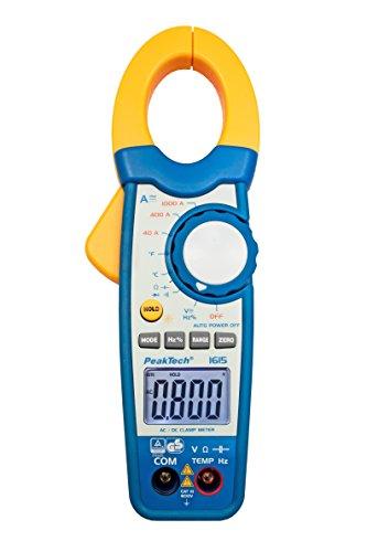 PeakTech 1615 – Zangenmessgerät 1000A AC/DC, Stromzange Multimeter, TÜV/GS, CAT III, Strommesszange, 4000 Counts, Berührungsloser Spannungsmesser, Strommessgerät, Durchgangsprüfer - Max. 600 V