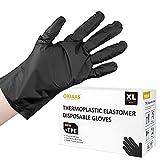 OKIAAS Guantes desechables negros M | TPE híbridos guantes de plástico,...