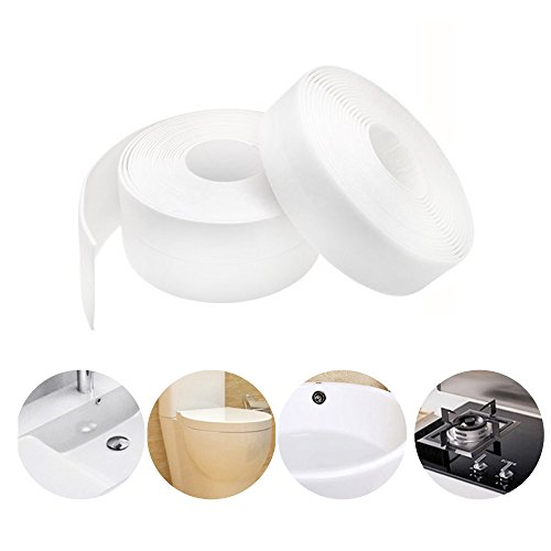 Caulk Strip PE Self Adhesive Tape for Bathtub Bathroom Shower Toilet Kitchen and Wall Sealing (W:38mm L:11Ft)