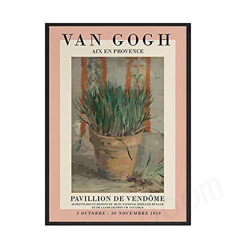 Mmpcpdd Carteles E Impresión Retro De Van Gogh Basquiat Miro Arte Abstracto De La Pared De La Sala De Estar Pintura De La Lona Imágenes Decoración para El Hogar-40X60Cmx1 Sin Marco