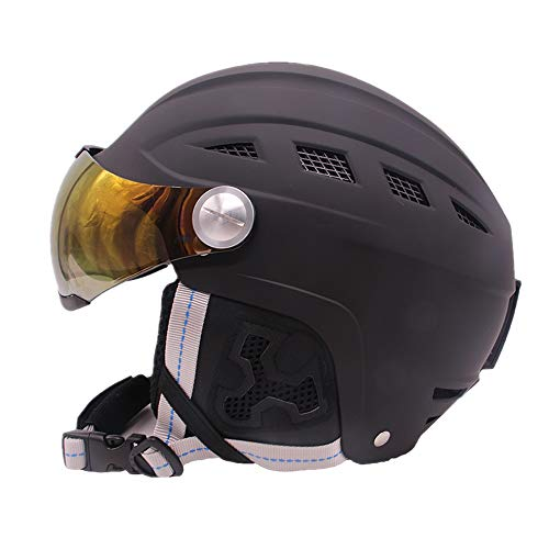 UNISTRENGH Ski Snow Snowboard Skate Helmet for Men Women with Attached Detachable Photochromatic Polarizing Goggles (Black, Medium(56-58cm))