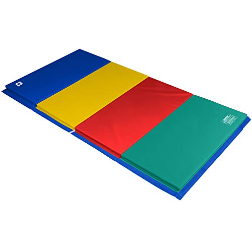 We Sell Mats 4 ft x 8 ft x 2 in Gymnastics Mat, Folding Tumbling Mat, Portable with Hook & Loop Fasteners, Multicolor