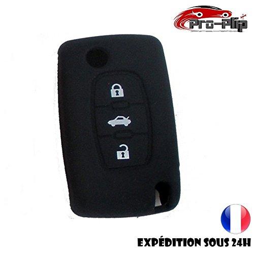 Pro-Plip beschermhoes van silicone, voor autosleutels, Citroën-knop, voor kofferbak, zwart