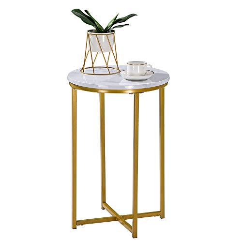 Bonnlo Round Side Table Modern End Table Living Room White Faux Marble Nightstand with Gold Metal Frame