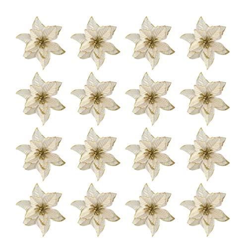 STOBOK - 16 fiori di stella di Natale con paillettes, decorazioni per albero di Natale, ornamenti, bricolage, fiori artificiali, oro, argento, viola, blu, rosso, rosa, Tessuto, D'or, 14 * 14cm