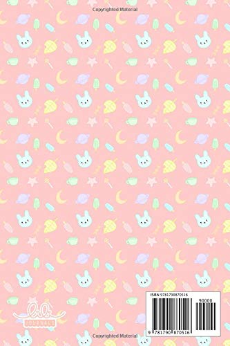 """Notebook: Kawaii Bunny Leaf Popsicle Candy Moon Pink, Wide Ruled 110 pages (6.14"""" x 9.21"""")"""