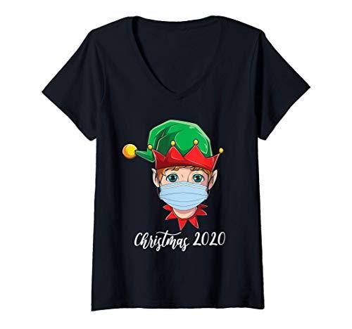 Donna Christmas 2020 quarantine mask cute elf wearing mask kids Maglietta con Collo a V