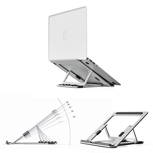 Magichold Portable Height Adjustable Folding Laptop Stand,Lightweight Anti-Slip Laptop Riser | Aluminum Notebook/Tablet Stand Compatible with MacBook Pro/Air,ipad Pro,HP, Dell & Any Laptops (Silver)