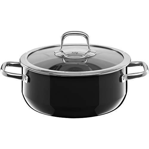 Silit Compact Kochtopf groß, 22 cm, Glasdeckel, Bratentopf 3,2l, Topf Induktion, stapelbar, Silargan Funktionskeramik, schwarz