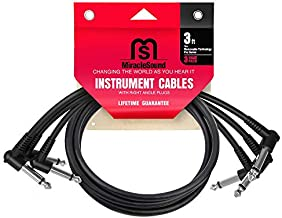 Miracle Sound Guitar Patch Cable for Pedalboard Effects with Right Angle Plug 3-Pack Ideal Electric Guitar and Bass Livewire Cable (3 Feet)