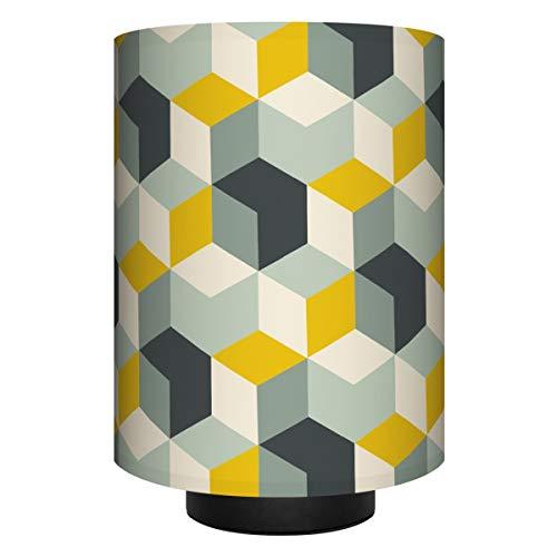 Anna Wand Tischlampe Cubes Curry/Mint/SCHWARZ–Komplette Lampe mit Design-Lampenschirm in versch. Farben, schwarzem Lampenfuß & Stoffkabel, Leuchtmittel–Sanftes Licht im Wohnzimmer, Schlafzimmer, Flur