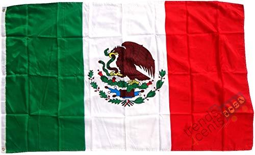 Top Qualität - Flagge MEXIKO Mexico Fahne, 90 x 150 cm, EXTREM REIßFEST, Keine BILLIG-CHINAWARE, Stoffgewicht ca. 100 g/m², sehr robust, extra starke Messing-Ösen - mehrfach umlaufend genäht, ideal als Hissflagge Hissfahne für Innen/Außen, für Haus, Garten zur Deko