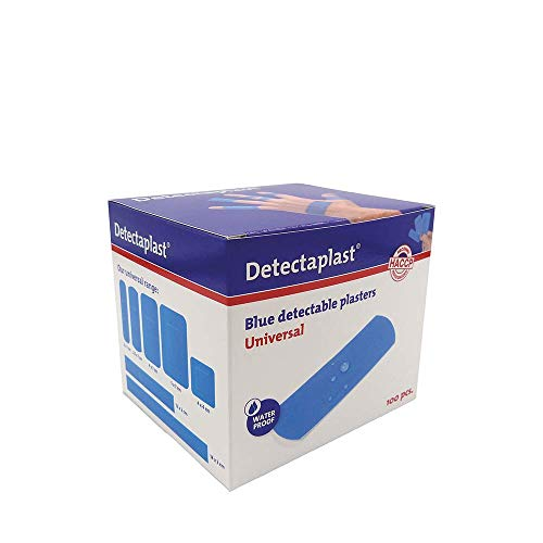 Detectaplast Pflaster wasserfest Universal, blaue Wundpflaster für den Umgang mit Lebensmitteln, detektierbare Pflaster für Erste Hilfe Sets in der Gastronomie, 25 x 72 mm, 100 Stück