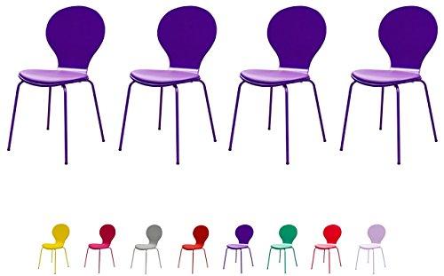 Tenzo Flower Designer Lot de 4 chaises avec Coussin, Cuir, Violet, 46 x 57 x 87 cm