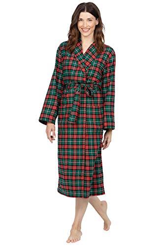 PajamaGram Flannel Robe Women Soft - Bathrobes for Women, Red/Green, XS/S 2-6