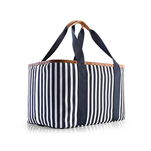 Selinchen® - Einkaufskorb   Hochwertige Einkaufstasche faltbar und mit PU-Ledergriff   Ideal als eleganter Picknickkorb, Shopper oder Carrybag   30 Liter