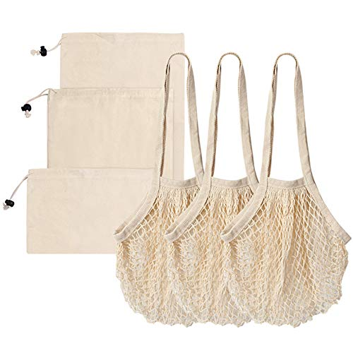 Reusable Produce Bags, Premium Washable Eco-Friendly Cotton Reusable Grocery Bags for Shopping & Storage, 3 Pack Long Handle Mesh Shopping Bags+3 Pack Muslin Bags with Drawstring Lock