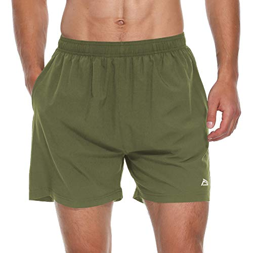 FEDTOSING Men's 5 Inches Workout Running Shorts Quick Dry Lightweight Gym Training Shorts with Back Zipper Pocket (Army Green M)