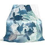 Oarencol Manta de tortuga marina, color azul, suave y acogedora, de franela de forro polar, para cama, sofá, sofá, 152,4 x 228,6 cm