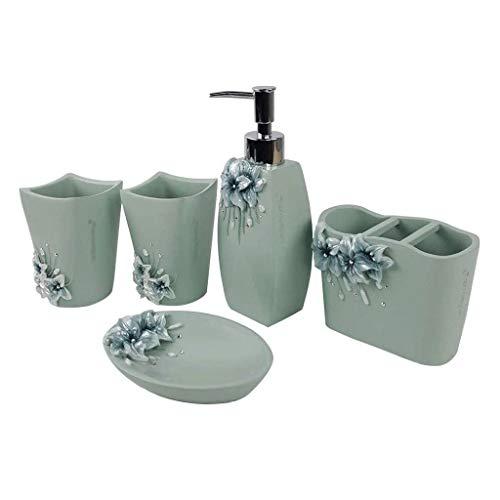 Juego de accesorios de baño dispensador de líquido, 5 piezas, incluye dispensador de jabón, soporte para cepillo de dientes, 2 vasos de dientes, jabonera, dispensadores de loción verde