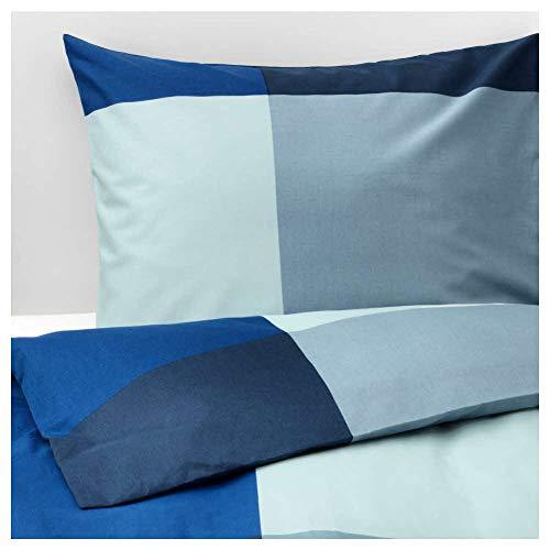 Ikea Asien BRUNKRISSLA Bettbezug und 2Kissenbezügen, Blau, Grau