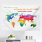 Lunarable Modern Tapestry, Watercolor The World is a Book and Those Who Do Not Travel Read Only a Page Phrase, Fabric Wall Hanging Decor for Bedroom Living Room Dorm, 45' X 30', Coral Green