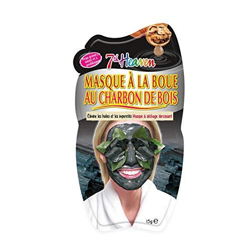7th Heaven - 12 Masques à la Boue et au Charbon de Bois - Masque Nettoyant Visage - Nettoie les Pores - Pour Peau Normale, Mixte et à Problèmes - Cruelty Free 100% Vegan - Boîte de 12 Masques