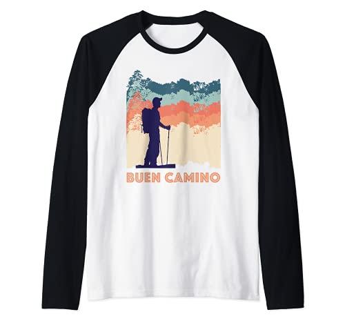 Camino de Santiago de Compostela Pilgrim Way of St James Men Camiseta Manga Raglan