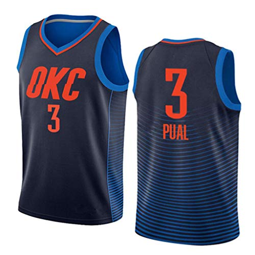 Herren Trikot, 3 Retro Unisex Basketball Trikot-OKC Atmungsaktives Mesh Stoff Training T-Shirt-L