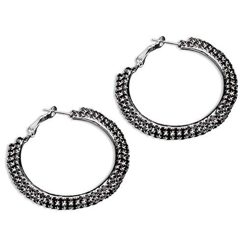 SUNSKYOO Damen-Ohrringe, groß, groß, hohl, rund, doppelreihig, mit Diamant-Kristall, Legierung, Schwarz, 4.8cm