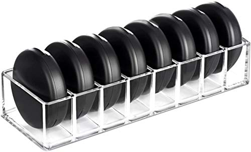 HBlife Clear Acrylic Compact Organizer Blushes Highlighters Eyeshadow Makeup Organizer, 8 Spaces