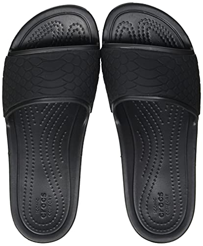 Crocs Sloane Snake Low Slide, Sandalias deslizantes Mujer, Black, 37/38 EU