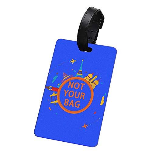 Dasket Etiqueta del Equipaje- Buen Rendimiento hermético Inodoro Goma Suave Etiqueta de Equipaje Resistente al Calor antiestático Suave al Tacto Tarjetero Identificación precisa-Blue,World Travel