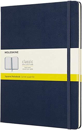 Moleskine Classic Notebook, Taccuino a Quadretti, Copertina Rigida e Chiusura ad Elastico, Formato XL 19 x 25 cm, Colore Blu Zaffiro, 192 Pagine