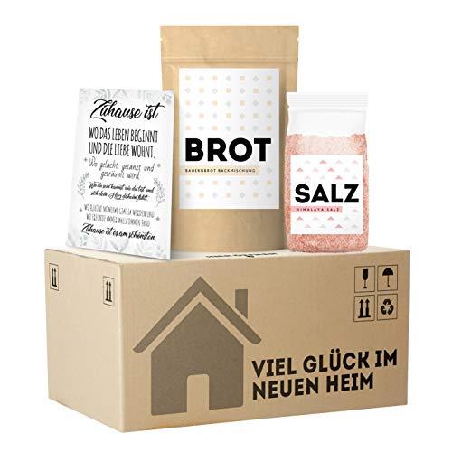Einweihungsgeschenk für Wohnung und Haus • originelles Brot und Salz Geschenk zum Einzug im mini Umzugskarton • Tolles Einzugsgeschenk für Haus und Wohnung