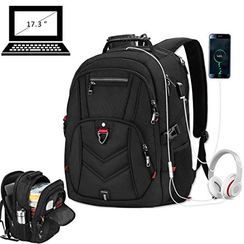 Laptop Backpack 17 Inch Business Travel Backpacks for Men Women Extra Large Waterproof TSA Anti Theft College Hight School Bookbags with USB Charging Port 17.3 Gaming Computer Backpack 45L, Black